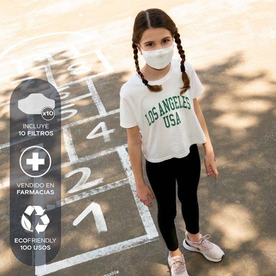 Mascarilla antivirus para niños de 6 a 12 años + Pack de 10 filtros. Lavable y reutilizable