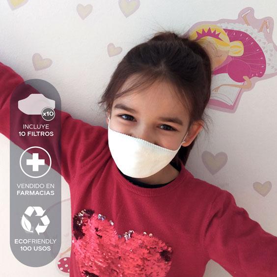Mascarilla personalizable blanca antivirus para niños de 6 a 12 años  + Pack de 10 filtros