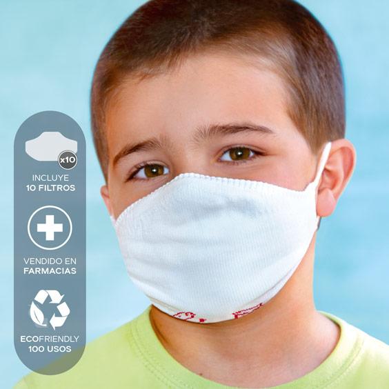 Mascarilla personalizable blanca antivirus para niños de 3 a 5 años  + Pack de 10 filtros