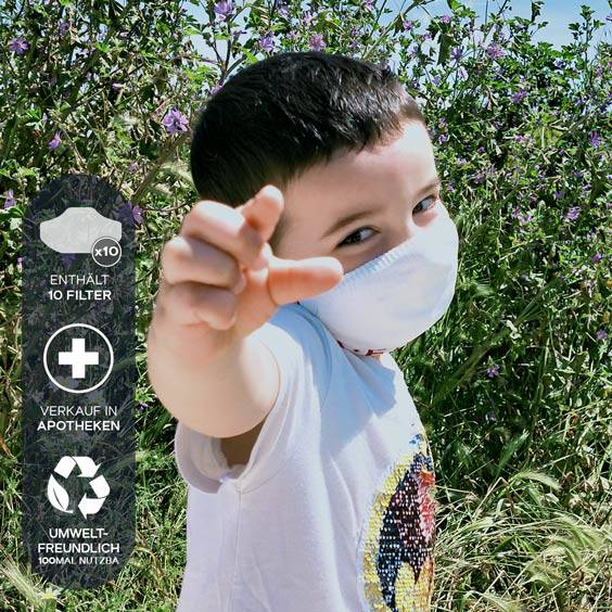 Masken für Kinder von 3 bis 5 Jahren + Pack mit 10 Filtern