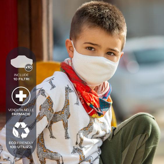 Maschera per bambini dai 3 ai 5 anni + confezione da 10 filtri