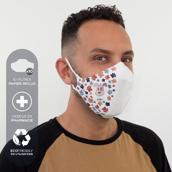 Masque de protection blanc personnalisable adultes + recharge de 10 filtres papier