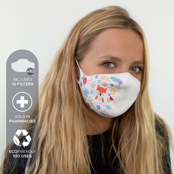 White Personalized antivirus face masks size adult + a pack of 10 filters