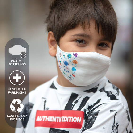 Mascareta personalitzable blanca antivirus per a nens de 6 a 12 anys + Pack de 10 filtres
