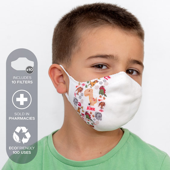 White Personalized antivirus face masks size 3-5 years + a pack of 10 filters