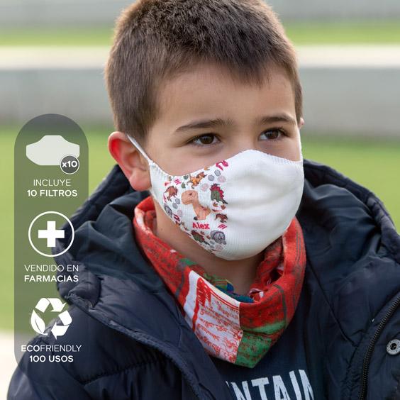 Mascareta personalitzable blanca antivirus per a nens de 3 a 5 anys + Pack de 10 filtres