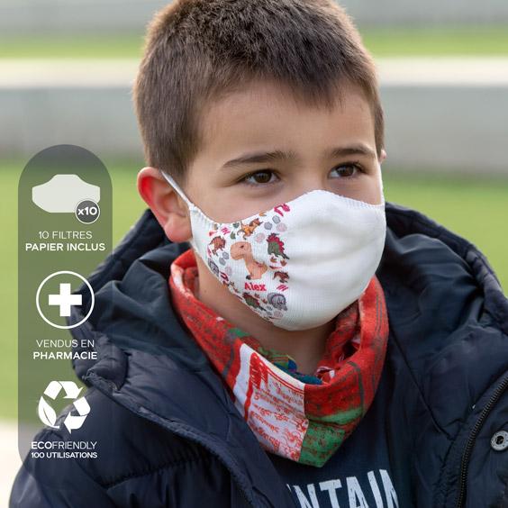 Masque de protection blanc personnalisable enfants de 3 à 5 ans + recharge de 10 filtres papier