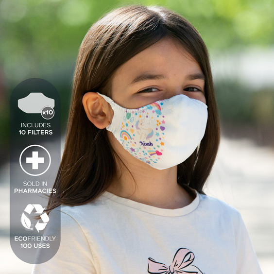 White Personalized antivirus face masks + a pack of 10 filters