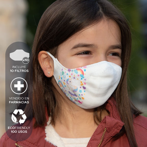 Mascarilla personalizable blanca antivirus  + Pack de 10 filtros