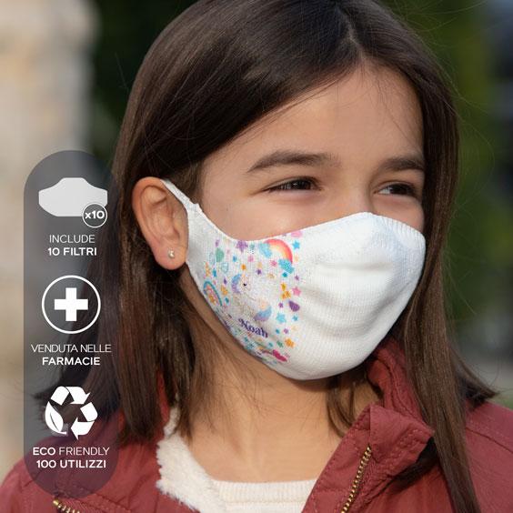 Mascherina bianca personalizzabile + confezione da 10 filtri