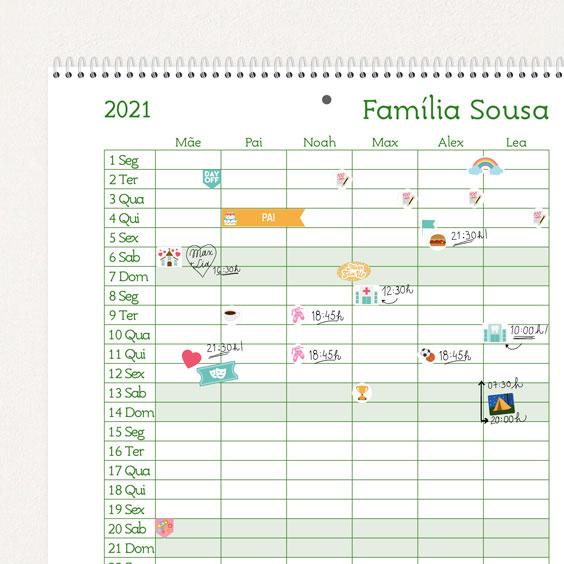 Calendário planificador personalizado