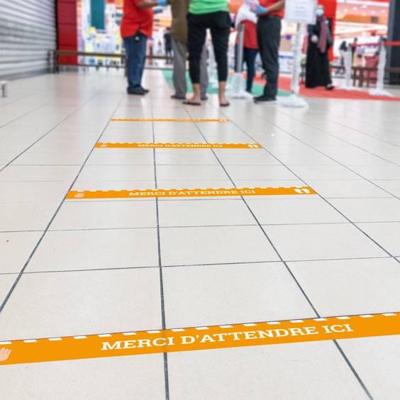 Pegatinas de distancia de seguridad para el suelo personalizados