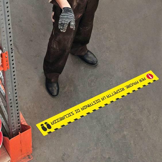 Adesivi personalizzati per pavimenti per il distanziamento di sicurezza
