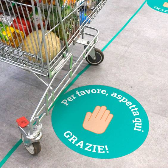 Pegatinas redondas de distancia de seguridad para el suelo personalizadas