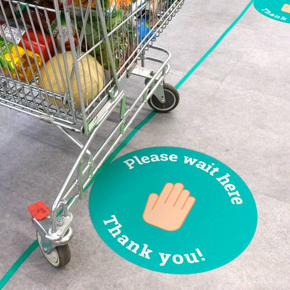Round Personalized Safety Distance Floor Signs