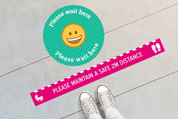 Personalized Safety Distance Floor Signs