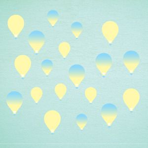 Yellow balloons wall stickers
