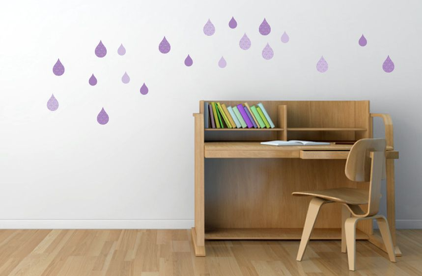 Purple Textured Drops Wall Decals