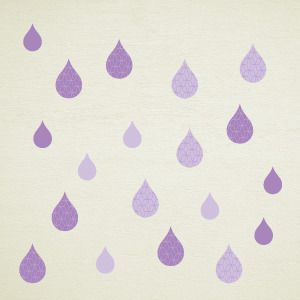 Purple rain drops wall stickers
