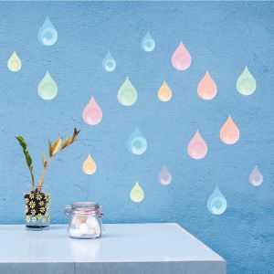 Pastel Colored Drops Wall Decals