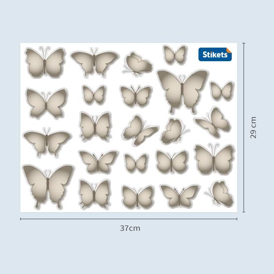 Decorazione Farfalle in grigio cenere