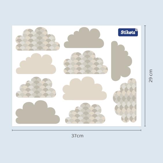 Vinil de núvols cendra amb teules
