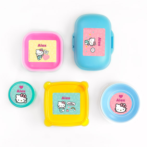 Etiquettes pour lunch box et gourde Hello Kitty