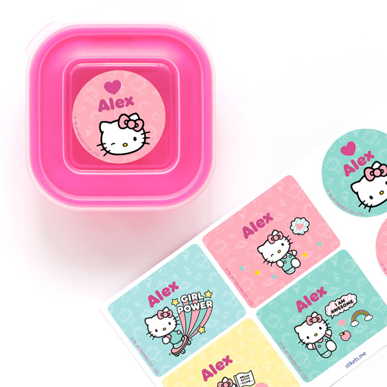 Hello Kitty Name Labels for Water Bottles and Lunch Boxes