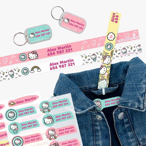 Hello Kitty Hanging Loops, Iron-On Labels and Tags for Backpacks
