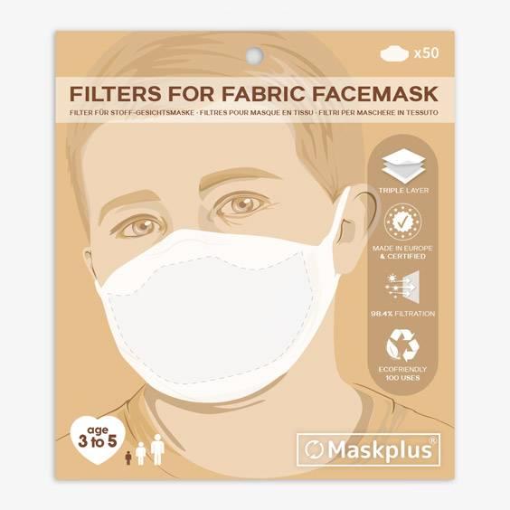 Recharge de 50 filtres en papier pour masque de protection 3/5 ans