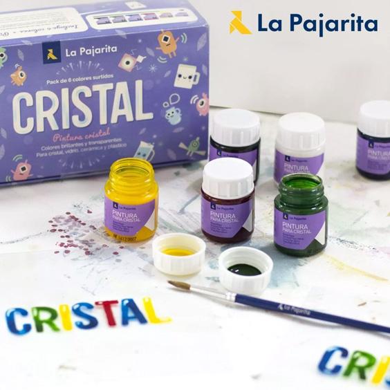 Set de pinturas para cristal La Pajarita con picel