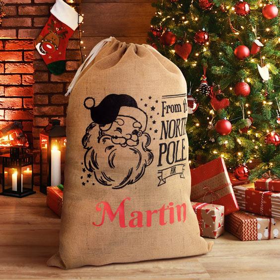 Duży personalizowany worek Świętego Mikołaja na prezenty