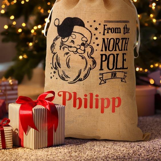 Großer personalisierter Weihnachtsmann-Sack