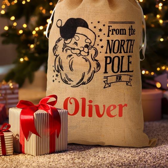 Large Personalized Santa Gift Bag