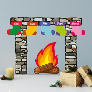 Christmas Fireplace with Stocking