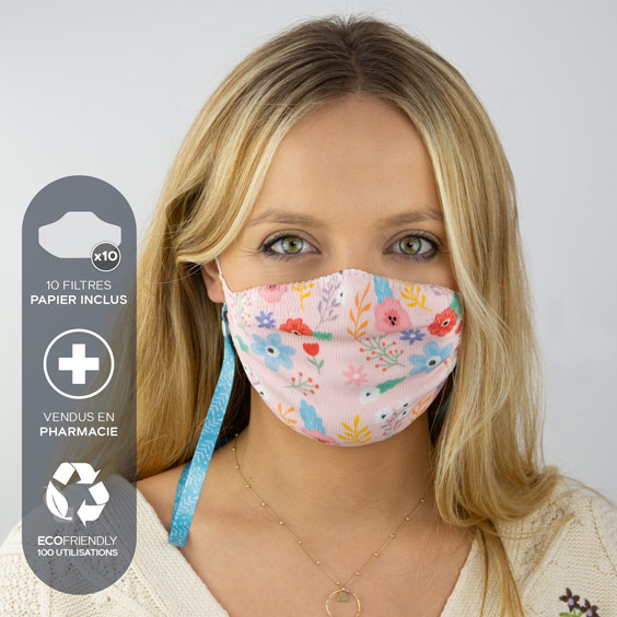 Masque de protection adultes + recharge de 10 filtres papier
