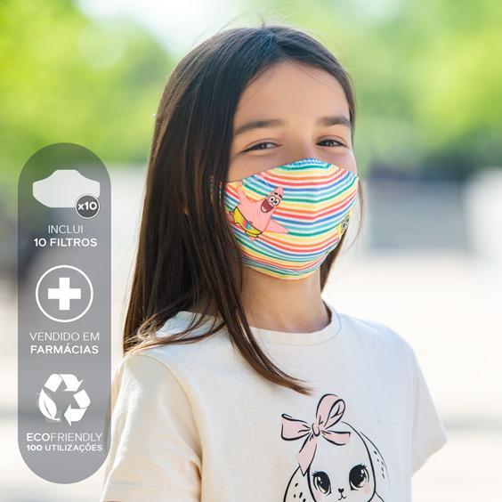 Máscara antivírus do Bob Esponja para crianças de 6 a 12 anos + Pack de 10 filtros