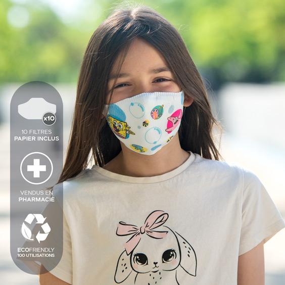 Masque de protection enfants 6/12 ans Bob l'Éponge + recharge de 10 filtres papier