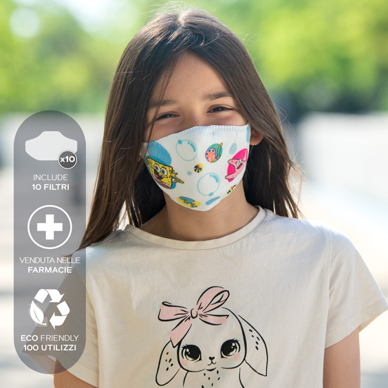 Mascherina antivirus di SpongeBob per bambini dai 6 ai 12 anni + confezione da 10 filtri