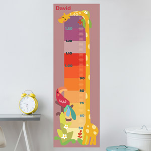 Personalised Colourful Giraffe Growth Chart