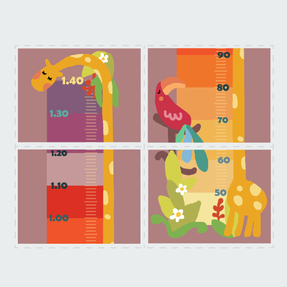 Personalised Colourful Giraffe Height Chart