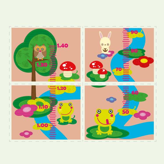 Personalisierbare Kindermesslatte Tiere des Waldes