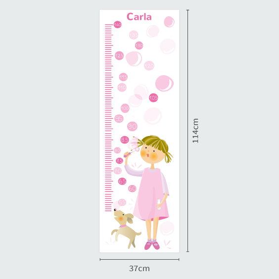 Girl Blowing Bubbles Growth Chart