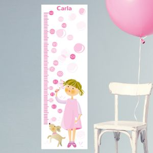 Personalizable Girl Blowing Bubbles Growth Chart