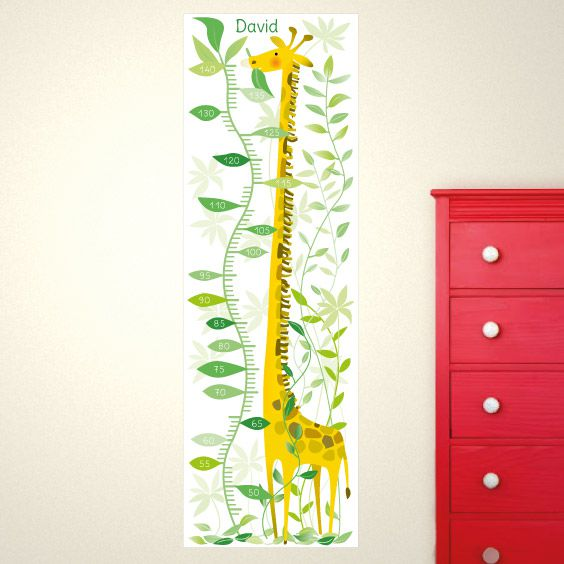 Personalizable Jungle Giraffe Growth Chart Stikets