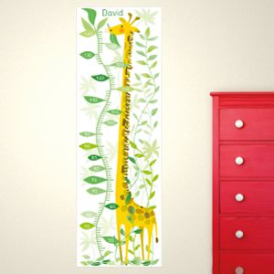 Personalised Giraffe in the Jungle Height Chart