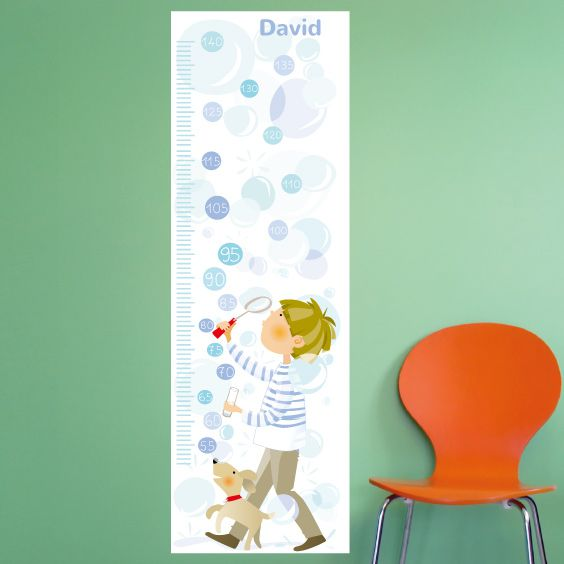 Personalizable Boy Blowing Bubbles Growth Chart