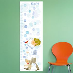 Personalised Boy Blowing Bubbles Height Chart