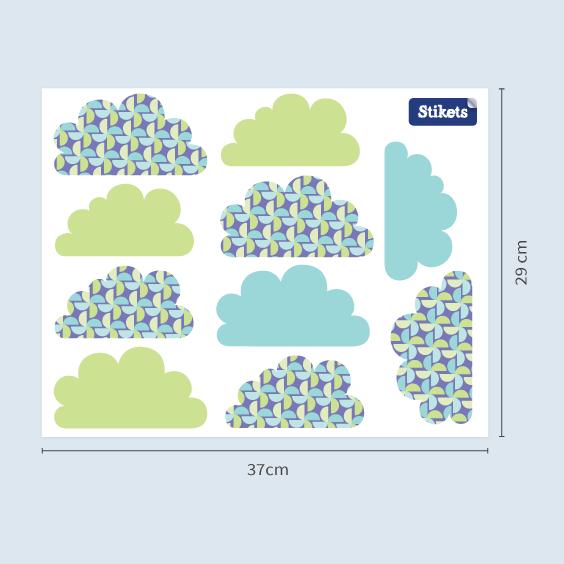 Vinilo de nubes verdes con molinillos