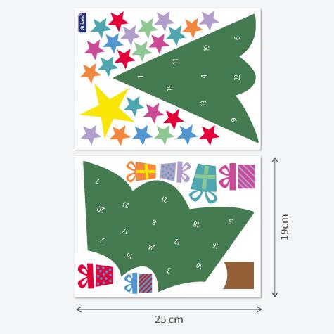 Sticker Calendrier de l'Avent forme de sapin